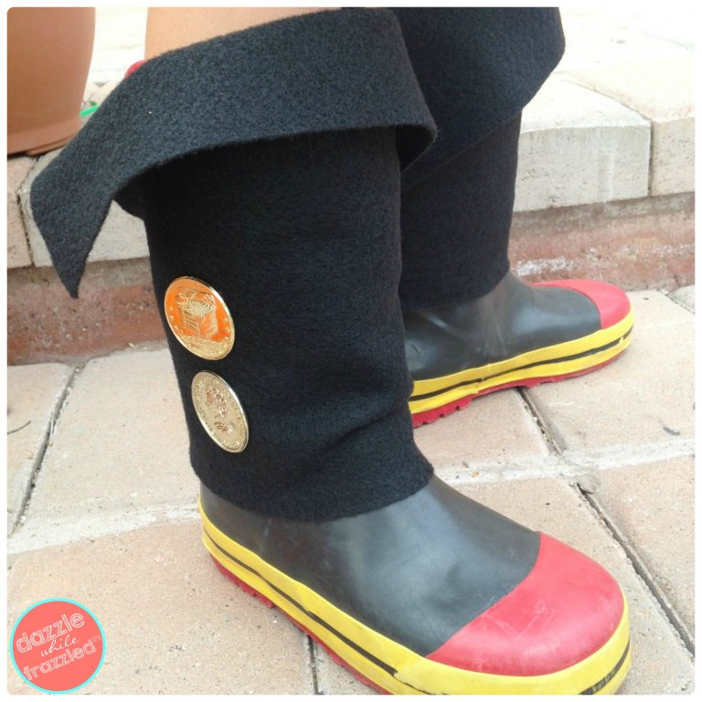 DIY Easy Kid Pirate Boot Covers | DazzleWhileFrazzled.com