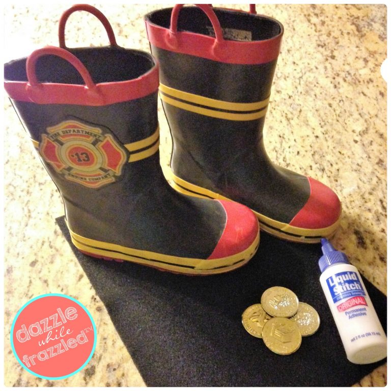 Use rain boots or sneakers, felt fabric and plastic gold coins for DIY pirate boot covers for kids.