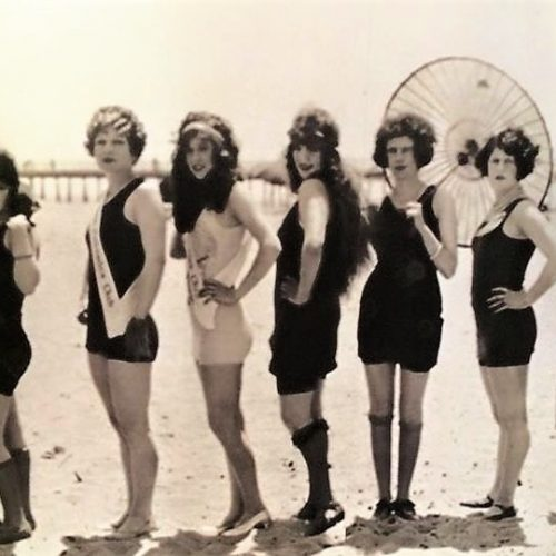 Vintage bathing beauties photograph from Library of Congress to use a wet bar backsplash