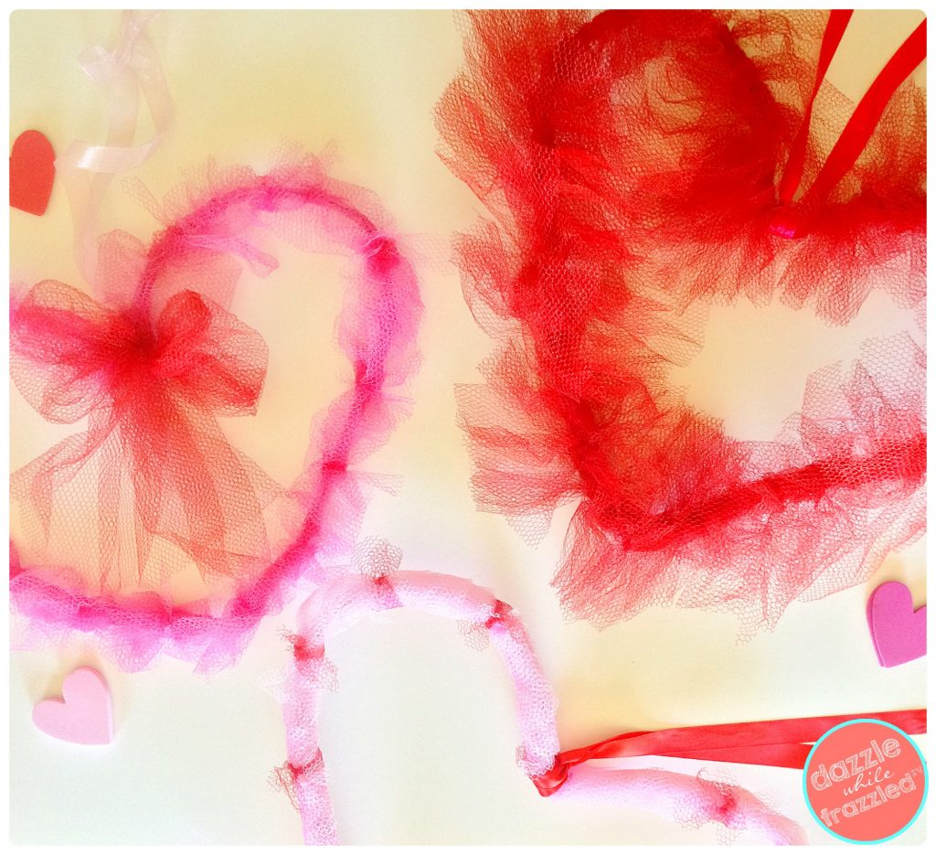 DIY Valentine's Day Mesh Heart Door Wreaths | DazzleWhileFrazzled.com