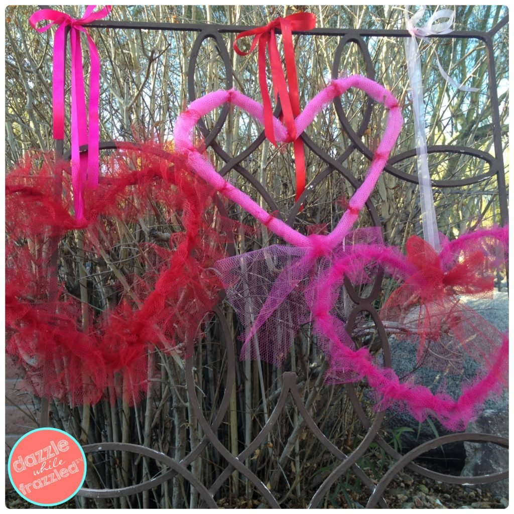 DIY Valentine's Day Mesh Heart Door Wreaths