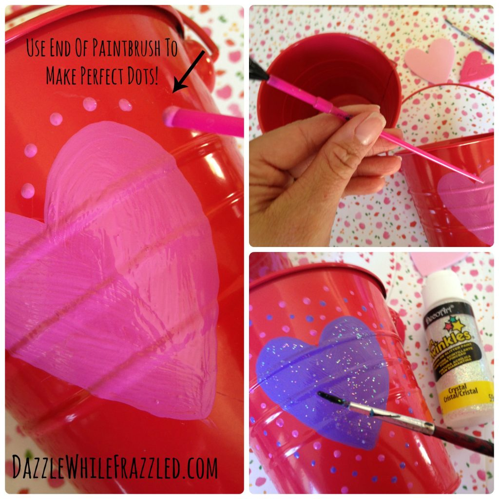 Use the end of a paint brush to make perfectly round dots with paint for a DIY $5 Valentine's Day teacher gift