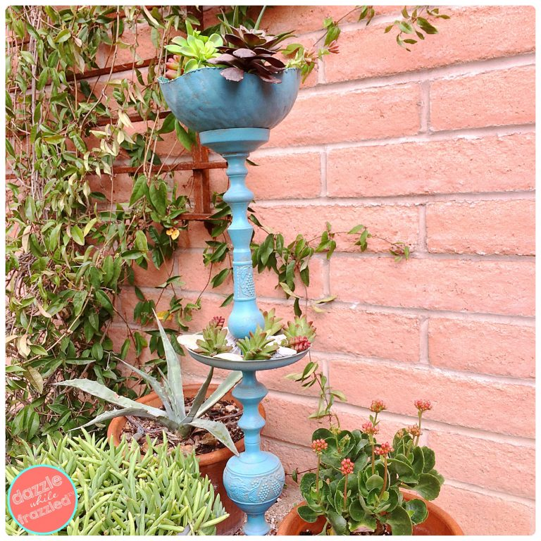 Turn a vintage candlestick into a freestanding candlestick plant stand for the garden   DazzleWhileFrazzled.com