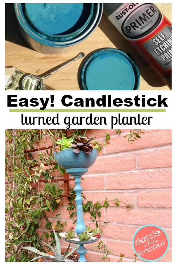 How to turn a candlestick into a garden plant stand