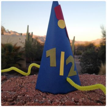 How to make half birthday party hats for a half birthday party for kids.
