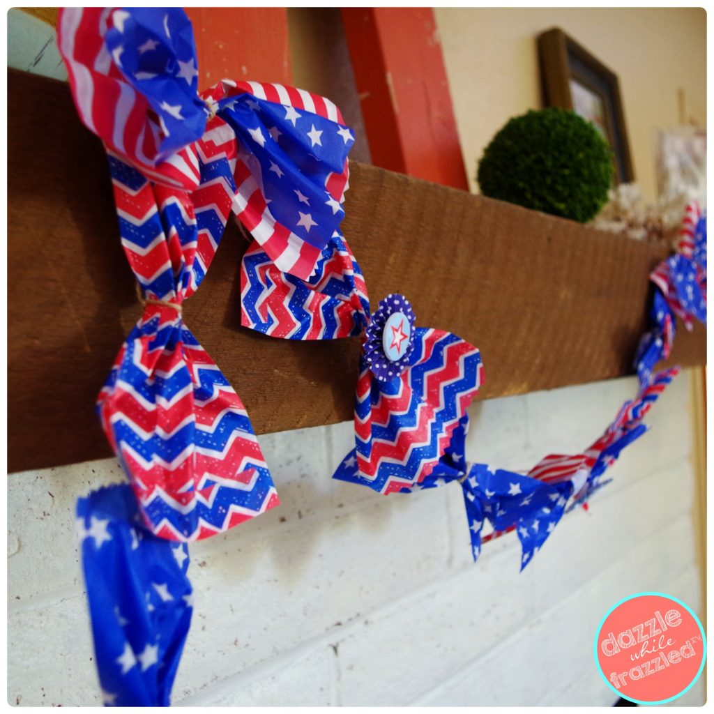 DIY Red White and Blue Patriotic Garland Using Paper Goodie Bags