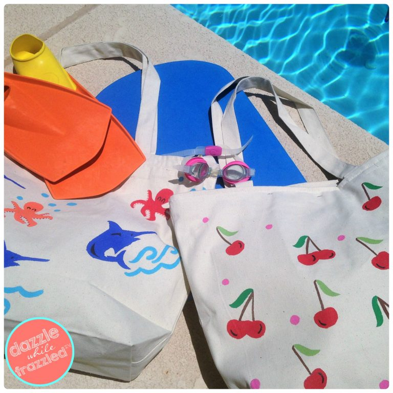DIY swim and beach bags using canvas totes and oil cloth fabric for waterproof liners.