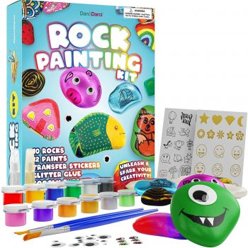 Keep kids busy and off screens with DIY rock painting craft kit.