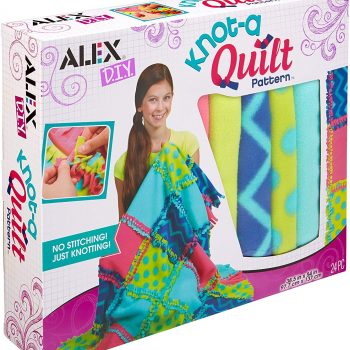 Snuggle up and get cozy with DIY knot a quilt craft kit for kids play dates, birthday parties and sleepovers.