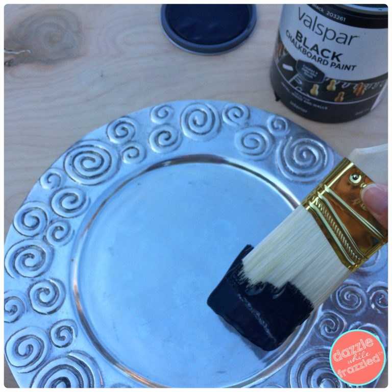 Make a holiday chalkboard plate charger | DazzleWhileFrazzled.com