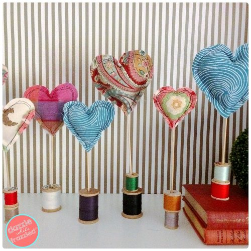 Use fabric scraps to make easy sew heart home decorations
