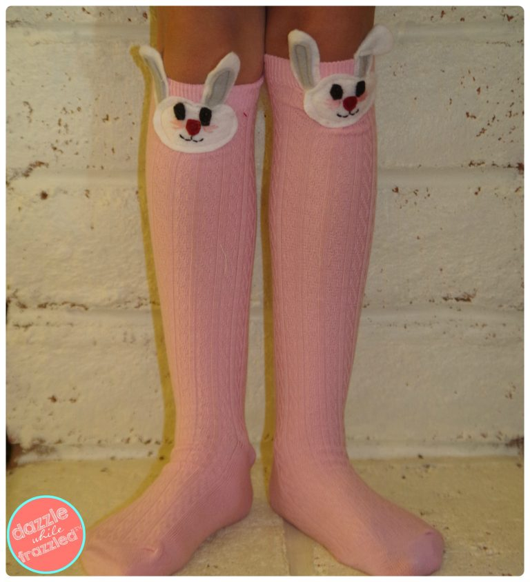 DIY Girls Easter Bunny Knee High Socks for Spring | DazzleWhileFrazzled.com