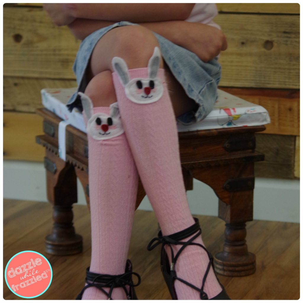 Sew cute DIY kids spring Easter bunny knee high socks. Perfect for school Crazy Sock Day.