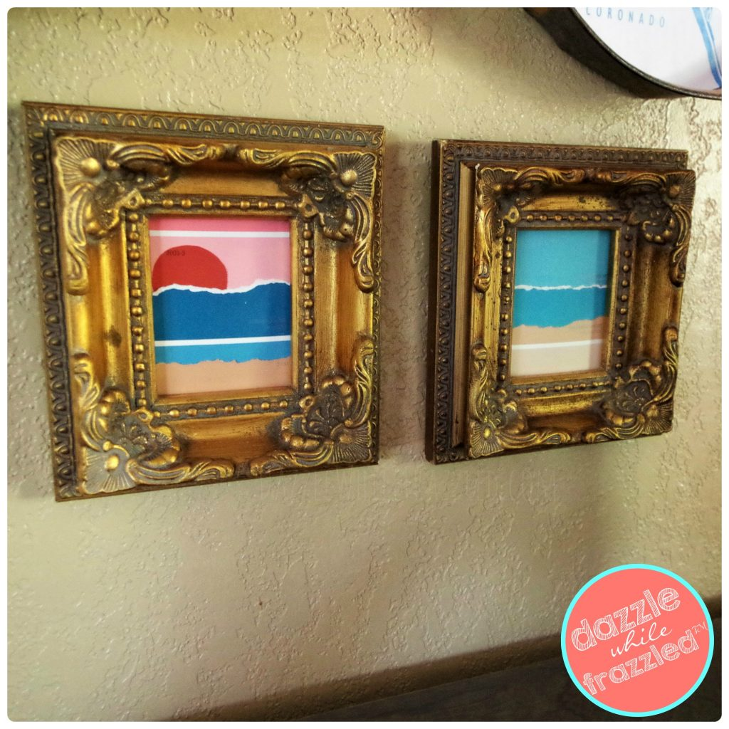 Fun DIY gallery wall using vintage gold frames and hardware store paint chips.
