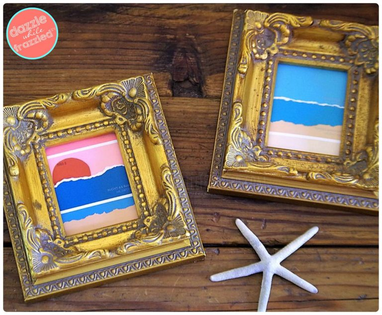 Use paint chip strips from the hardware store to make DIY beach artwork for the home.