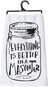 Retro-inspired mason jar kitchen hand towel.