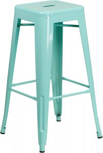Metal high back retro-inspired kitchen stool.