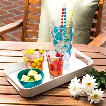 Durable plastic retro-inspired polka dot beverage tumblers.