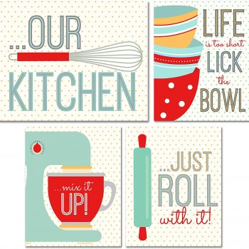 Retro-inspired unframed kitchen wall art.