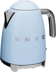 Retro-inspired Smeg pastel kitchen kettle.