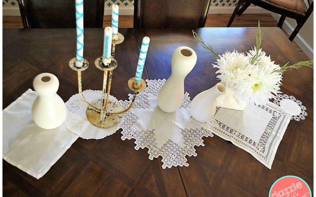 How To Make A 10 Minute Table Runner With Vintage Linens Dazzle While Frazzled