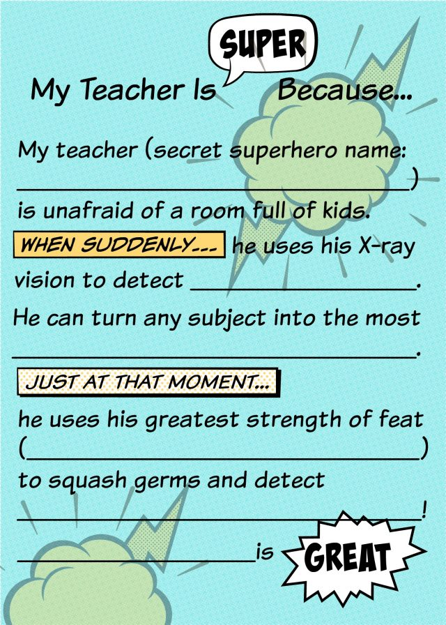 Teacher Appreciation Superhero Fill in Blank for Kids