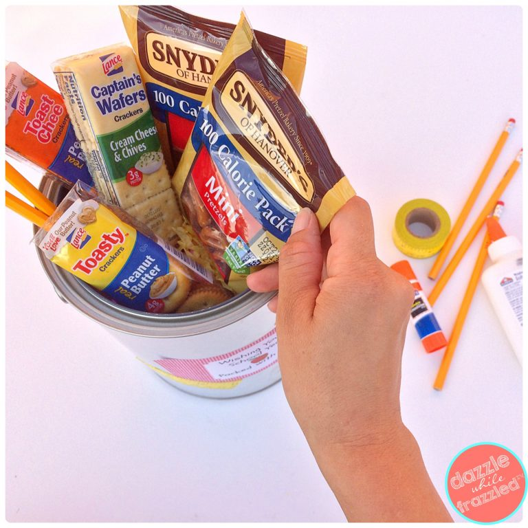 DIY Teacher Survival Kit with Printable Gift Tags. Back-to-School Teacher Gift Basket with Snyder's of Hanover Pretzels and Lance Sandwich Crackers | DazzleWhileFrazzled.com