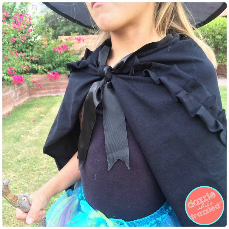 DIY Halloween costume black witches cape | DazzleWhileFrazzled.com