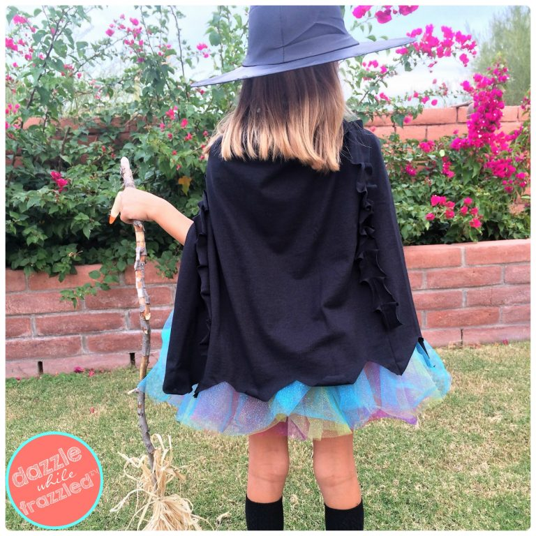 Halloween DIY easy black witches cape| DazzleWhileFrazzled.com