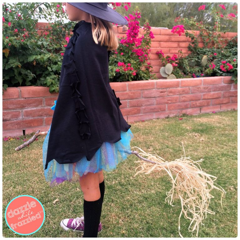 Make an easy witches cape for Halloween from men's large t-shirt | DazzleWhileFrazzled.com