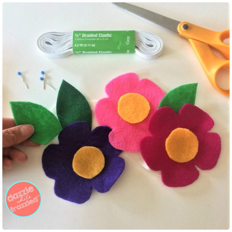 DIY felt flower sleep mask for easy sew and hot glue gun DIY handmade gift