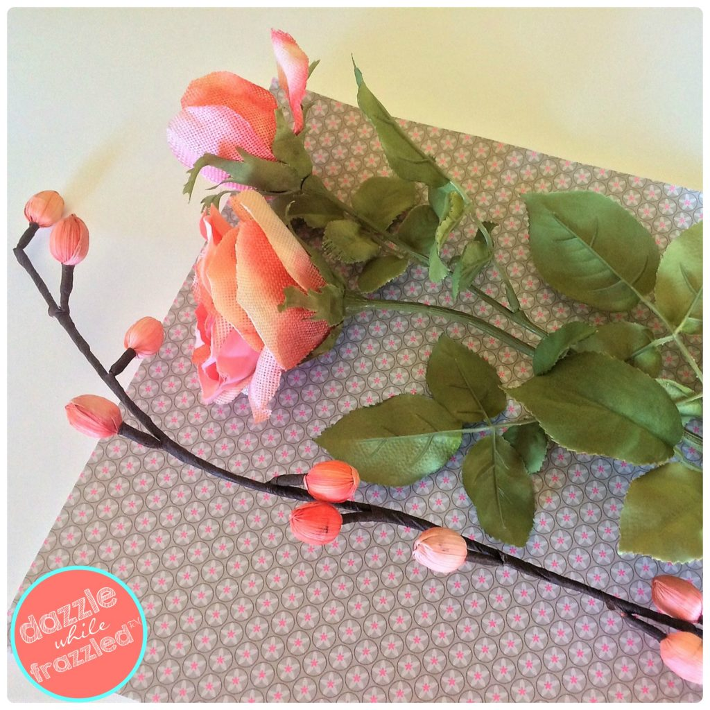 Use artificial flower stems to make an easy heart shape wreath