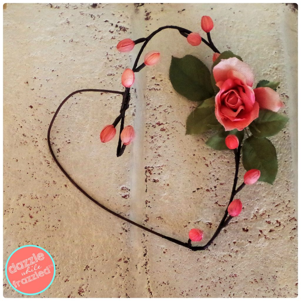 Make a flower heart wreath from a twig. Easy Valentine home decor.