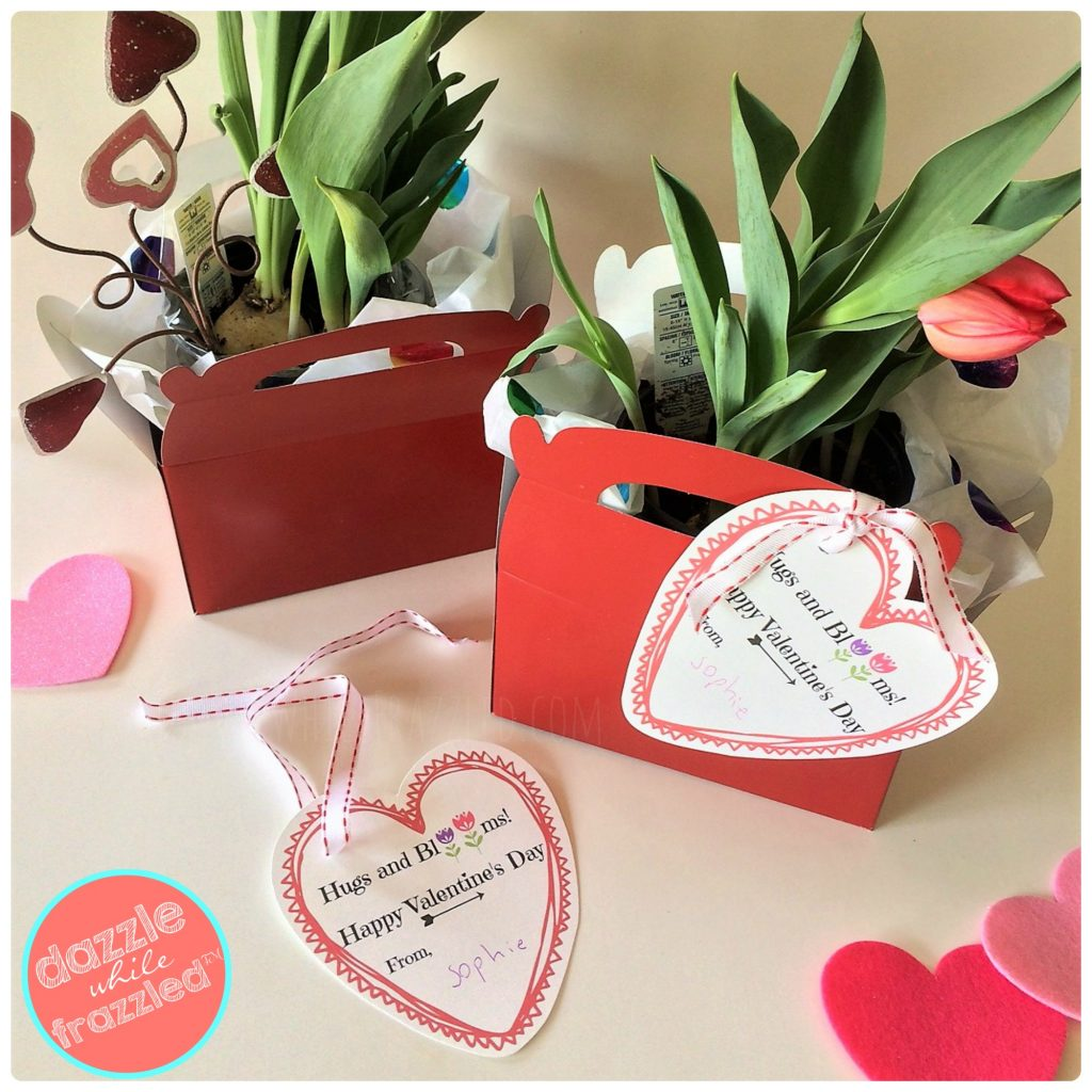 5-minute Valentine's Day flower bouquet gift basket with printable gift tag