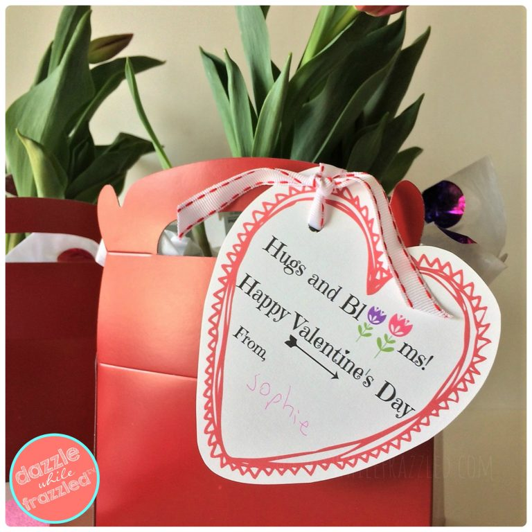 """Hugs and Blooms"" Valentine's Day flower gift basket with printable tag"