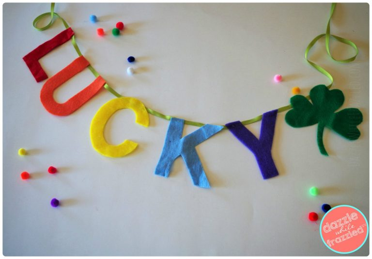 "Use felt and pom poms to craft a ""lucky"" St. Patrick's Day garland for home decor"