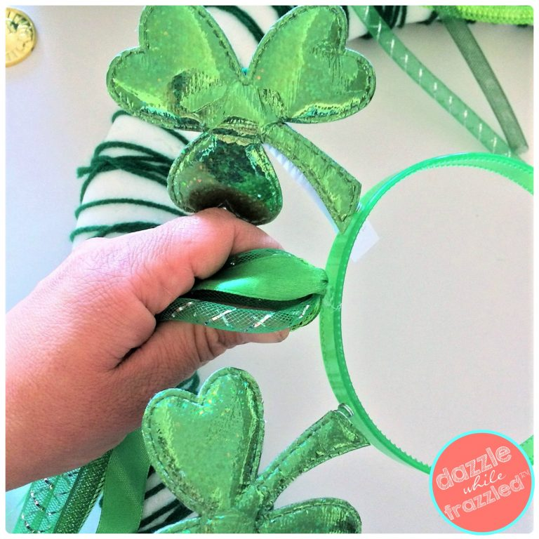 Use shamrock ribbon headbands for DIY St. Patrick's Day door wreath