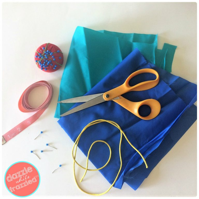 Step by step tutorial for sewing a DIY drawstring pouch for cosmetics, travel, small toy storage.