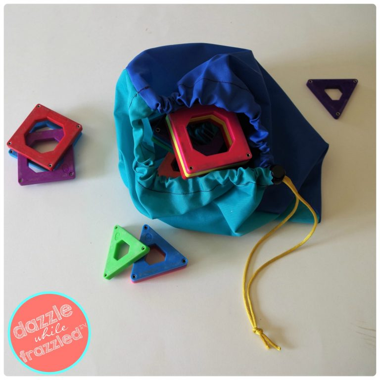 Small item storage like toys and cosmetics with DIY easy sew drawstring fabric bag.