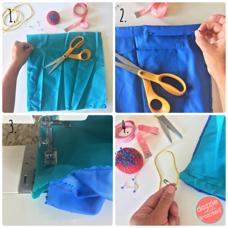 DIY tutorial for how to sew a drawstring pouch from fabric scraps to store toys, cosmetics or for travel.