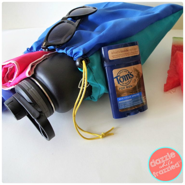 Switch to 100% sourced with natural products Toms of Maine deodorant to stick in a DIY reusable drawstring tote bag.