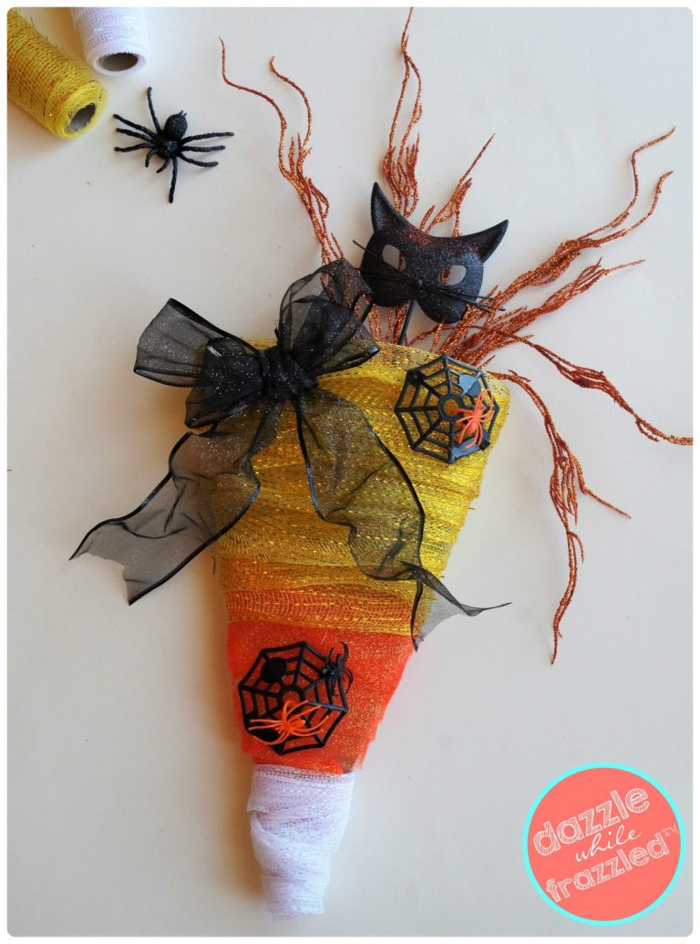 How To Make Spooky Sweet Candy Corn Halloween Wreath Dazzle While Frazzled