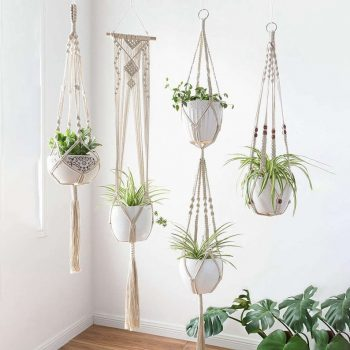 Add a retro touch to your home with macrame plant holder hanger.