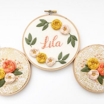 Personalized name embroidery hoop art for retro-inspired home decor and gift.