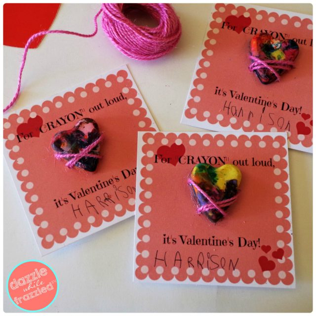 """For Crayon Out Loud, It's Valentine's Day"" kids heart crayon printable card"