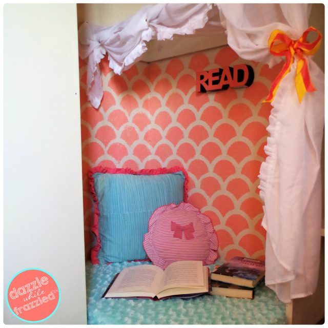 How to transform empty corner of a closet into DIY reading nook for kids.