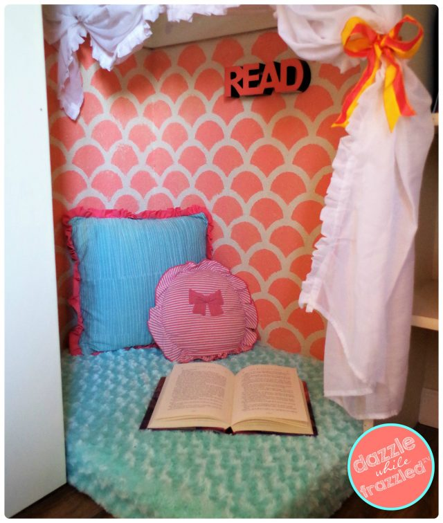How to make a cute kids reading nook in a bedroom closet.
