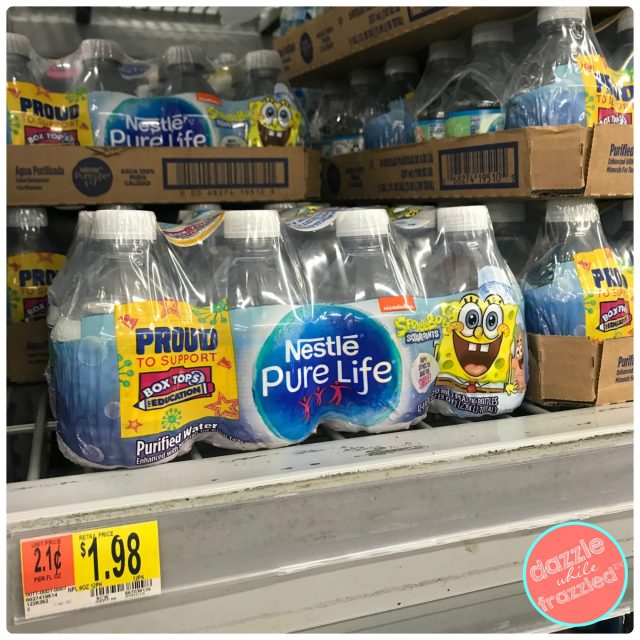 Support education and clip Box Tops with Nestle Pure Life 8oz water bottles with SpongeBob packaging.