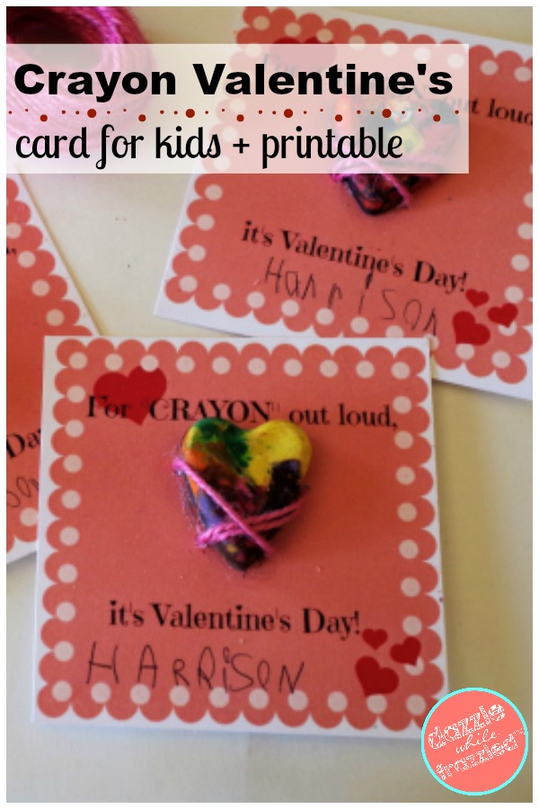 """""""For Crayon Out Loud, It's Valentine's Day"""" kids heart crayon printable card"""