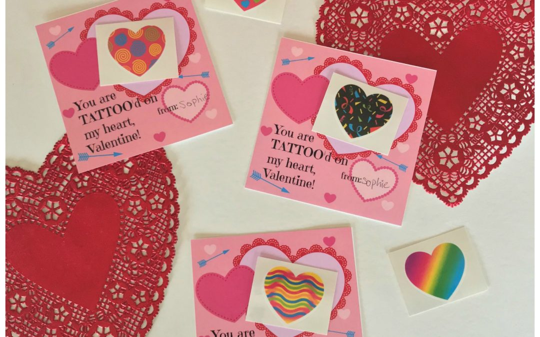 "Easy cute kids tattoo Valentine's Day card with free printable ""You are tattoo'd on my heart Valentine"" printable card."
